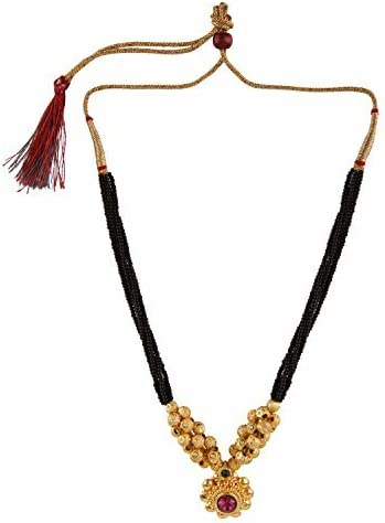 Set of 2-3INCH Sticker -MM3 Efulgenz Traditional Jewellery Gold Plated Thushi Mangalsutra Pendant Necklace for Women