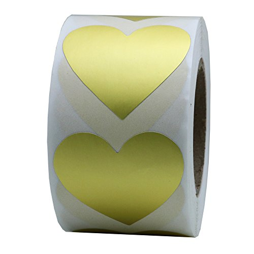 Hybsk Gold Love Heart Stickers 1.5 Inch Adhesive Label 500 Per Roll(Gold)