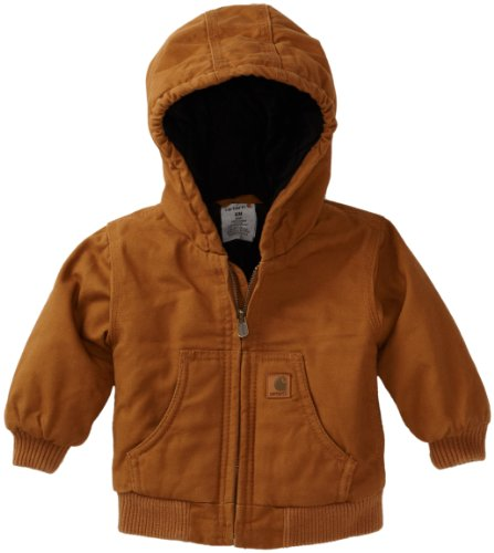 Carhartt Baby Boys' Active Quilted Flannel Lined Jacket, Carhartt Brown, 12 Months
