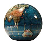 Unique Art Since 1996 80-PW Pearl Gemstone Globe Paper Weight, Bahama Blue