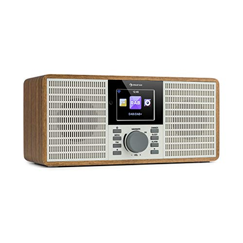 auna IR-260 - Web Radio, Sound Stereo, DAB+ & FM, Mediaplayer: Spotify Connect, Bluetooth, USB, UPnP/DLNA, HCC Display da 2,8', File Supportati: WMA/MP3, Line-Out, Legno