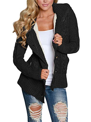 LANREMON Women Cardigan Sweaters Fleece Cable Knit Sweater Button up Soft Coat Winter Outwear with Pockets Black