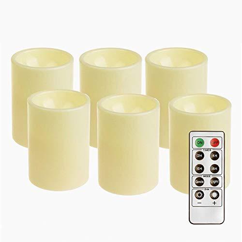 GiveU flammenlose LED-Kerze für draußen, batteriebetrieben, aus Kunststoff, elfenbeinfarben, Pack 6
