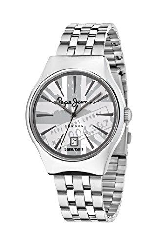 Pepe Jeans joska de Cuarzo Reloj de Pulsera de los Hombres con la Hoja de Plata y la Plata de la Correa de Acero Inoxidable R2353113001