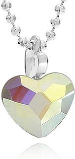 butterfly Bambine Ragazze Collana Argento Swarovski Elements Originali Ciondolo Cuore Crystal Lunghezza Regolabile Sacchet...