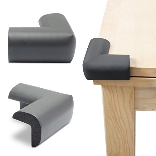 Kantenschutz 10er Set - Schwarz ca. 7 x 7 x 4 cm - Tischkantenschutz für Kindersicherung und Möbelschutz - Grinscard