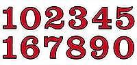 (シャシャン)XIAXIN 防水 PVC製 ナンバー 数字 ステッカー セット 耐候 耐水 数字 キャラクター ミニサイズ 表札 スーツケース ネームプレート ロッカー 屋内外 兼用 TSS-110 (1点, レッドXブラック)