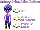 36' Galaxy Print Alien Inflate With Extra Large Black Eyes - Party Favor - Carnival Prize