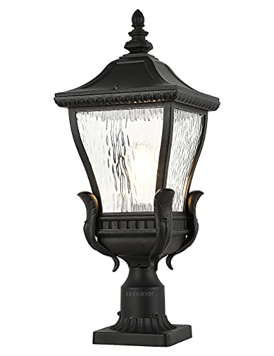 EREBJENH Vintage Exterior Post Lights IP65 Waterproof Outdoor Pole Lamp with 3 inch Pier Mount Adapter, Sand Textured Black Die-cast Aluminum with Water Glass E26 Bulb Base