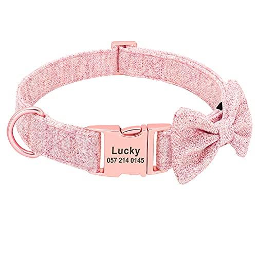 JIETAOMY Collar Perros Collar de Perro Personalizado Establece Collares Personalizados Collares de Perros Ajustables de Bowtie (Color : Pink Collar, Size : S)