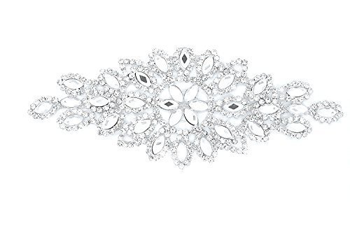 Trimming Shop Strass Motief Diamante Kristallen Naaien op Applique Patch - Perfect voor Bruiloft Bruidsjurk, Casual of Formele Draag Fashion Accessoires 150mm x 60mm (ca) Patch No. A088