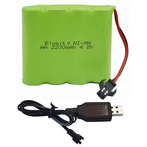 Blomiky 4.8V 2200mAH AA NiMH Rechargeable Battery with SM-2P Connector Plug and USB Charger Cable for RC Vehicle Car Truck Crawler 4.8V 2200mAh NiMH Battery