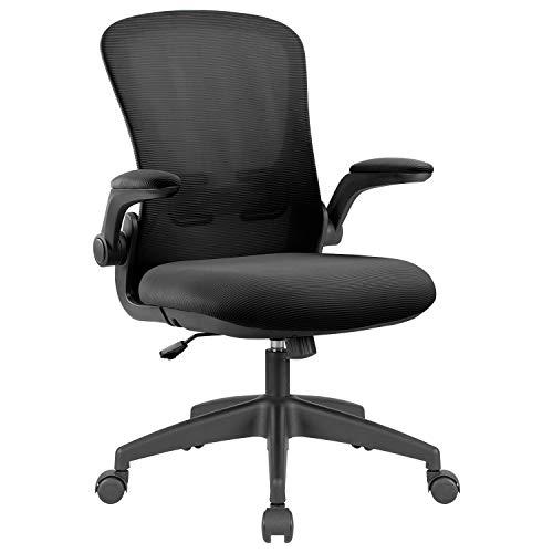 Homall Bürostuhl Schreibtischstuhl mit Hochklappbaren Armlehnen Ergonomischer Drehstuhl mit Netzbespannung Chefsessel Computerstuhl, Schwarz