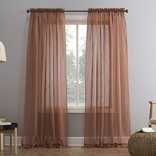 "No. 918 Erica Crushed Texture Sheer Voile Rod Pocket Curtain Panel, 51"" x 84"", Cedar Orange"