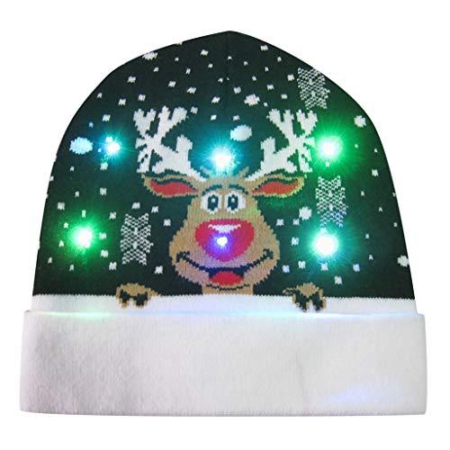 Transwen - Gorro de Papá Noel para niños y Adultos, con luz LED, diseño de Reno H M
