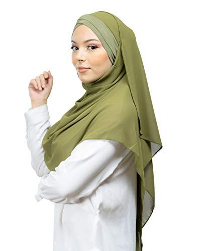 Lamis Hijab - Pañuelo cruzado con gorro integrado para mujer musulmana, velada, chal islámico, velo enfilable verde caqui Talla única