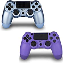 2 Pack Controller for PS4,Wireless Controller for Playstation 4 with Dual Vibration Game Joystick (Blue Purple)