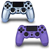 2 Pack Controller for PS4,Wireless Controller for Playstation 4 with Dual Vibration Game Joystick(Blue + Purple)