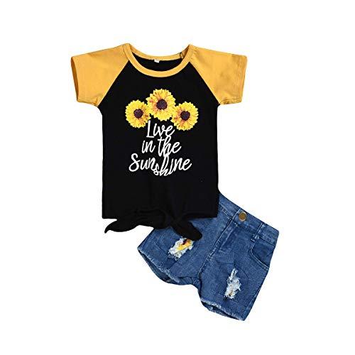 BigBig Style 2pcs Niños Niño Niña Trajes De Girasol Impresión Camiseta De Pantalones Cortos