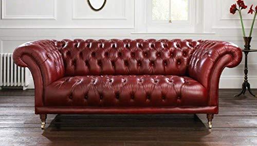 JVmoebel Sofá de 3 plazas XXL rojo Chesterfield acolchado asiento conjunto piel textil