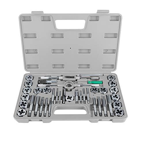 Victool Gewindeschneidsatz Gewindeschneider Set, M3-M12 Zoll Gewindeschneider 40 TLG Schraubenmutter Gewindebohr Gesenkset mit Schraubenschlüsseln, Hochleistung Hand Werkzeugen