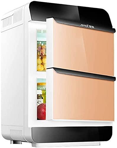 FCXBQ Refrigerador de Coche de refrigeración de Doble núcleo de 25L Enfriador/Calentador Compacto para Coche y Mini Nevera electrónica para el hogar (Color: Dorado)