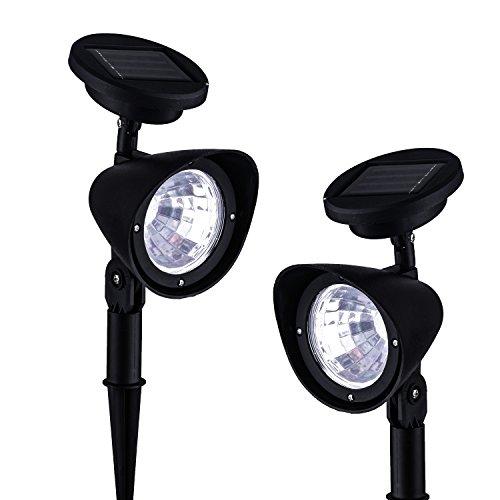 SOOJET ZL49 2x Solar Gartenbeleuchtung - Rasenleuchten LED Spots mit 4 LEDs in zwei Helligkeitsstufen, Solarpanel und Erdspieß für individuelle Gartendekoration