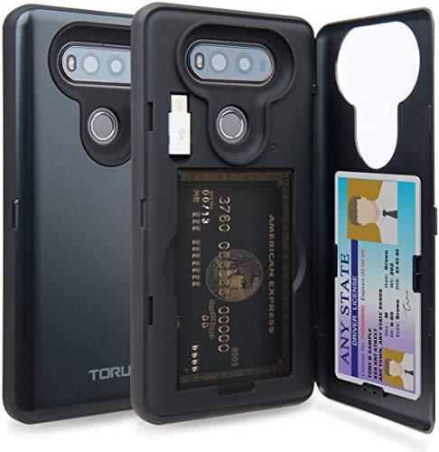 TORU CX PRO LG V20 Wallet Case Dark Blue with Hidden ID Slot Credit Card Holder Hard Cover, Mirror & USB Adapter for LG V20 - Metal Slate