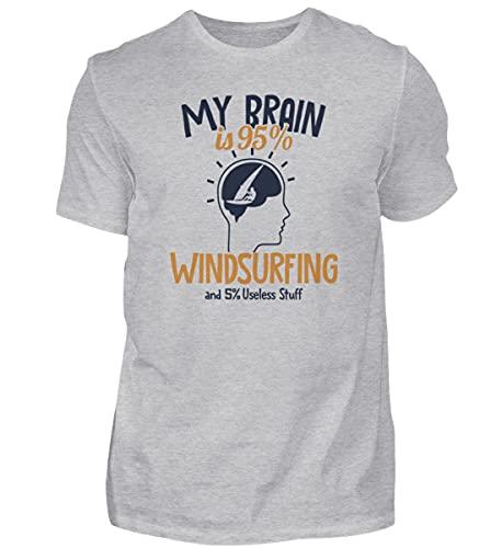 Wellreiter Windsurfen   01015 - Camiseta para hombre Gris (mezclado). M