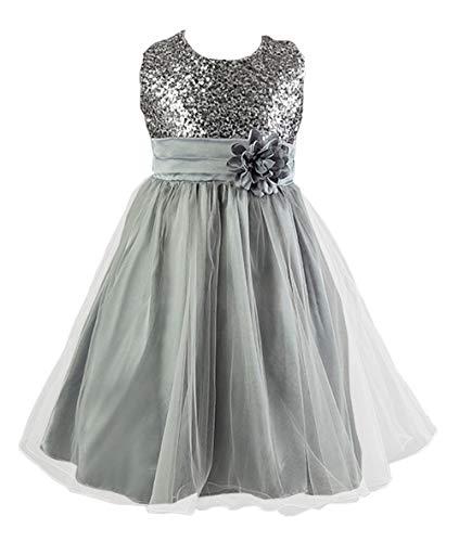 Live It Style It Mädchen Pailletten Blume formelle Hochzeit Brautjungfer Party Taufkleid Kinder Kleidung Mädchen Spitzenkleid Prinzessin...