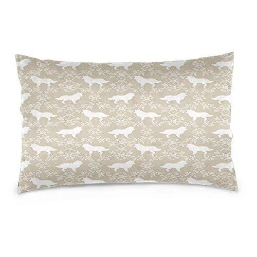 YudoHong Fundas de cojín de lino suaves rectangulares para sofá, dormitorio, decoración del hogar, borde, diseño de perro floral
