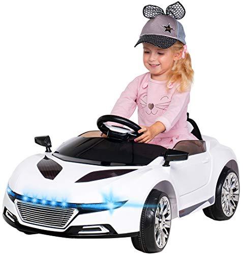 Actionbikes Motors Kinder Elektroauto Spyder A228 - Led Scheinwerfer - Fernbedienung - Weichgummiringreifen - Elektro Auto für Kinder ab 3 Jahre - Kinderauto (Weiß)