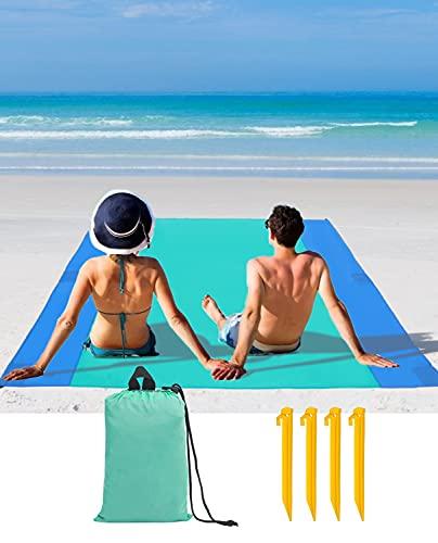 JEAOUIA Manta de playa impermeable extra grande (200 cm x 210 cm / 240 cm x 280 cm) colchonetas de playa a prueba de arena, impermeable, accesorio de playa para camping, senderismo, playa, hierba