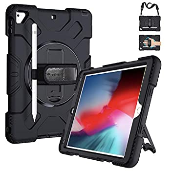 iPad 5th/6th Generation Cases iPad 9.7 Case Military Grade [15 ft Drop Tested] Shockproof Protective Cover with 360° Rotation Stand Hand Strap Shoulder Strap with Pencil Holder for iPad Air 2/Pro 9.7
