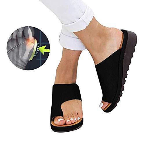 Frauen Bequeme Plattform Sandale Schuhe Sommer Strand Reise Schuhe,Bunion Splints, Damen Big Toe Hallux Valgus Unterstützung Plattform Sandale Schuhe Für Die Behandlung,001,40