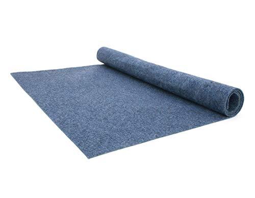Teppich-Boden Rips Malta B1 - Blau, 2,00m x 2,00m Rips-Nadelfilz, Schwer Entflammbar, Höhe ca.2mm, Gerippter Bodenbelag für Events und Messen