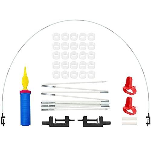 Kit arc en demi-cercle ballon, arc ballon, kit arc ballon décoratif, support de ballon de bureau réglable, utilisé pour les anniversaires, mariages, fêtes, Noël, Halloween (blanc)