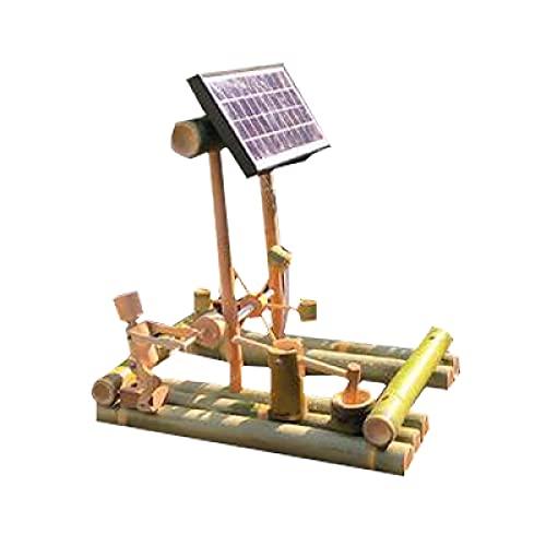 FHISD Wasserspiele für den Garten Solarbetrieben,Wasserdekoration Bambus Aquarium Wasserfilter Bambusrohr Wasserbrunnen Handwerk