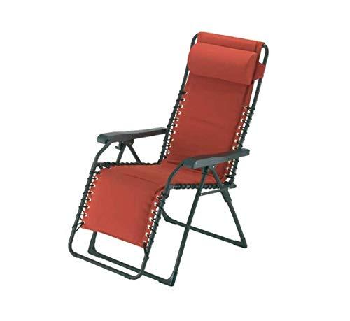 Fiam Movida - Sillón de gravedad cero basculante, estructura de acero color antracita - asiento de tela olefin ladrillo Art. 129ACAR