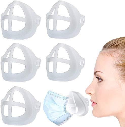 3D-Silikon-Halterung für Masken, Stützrahmen, Silikon-Maskenhalterung, Innenkissen für Masken, Nasenpolster für Mund und Nase, 5 Stück