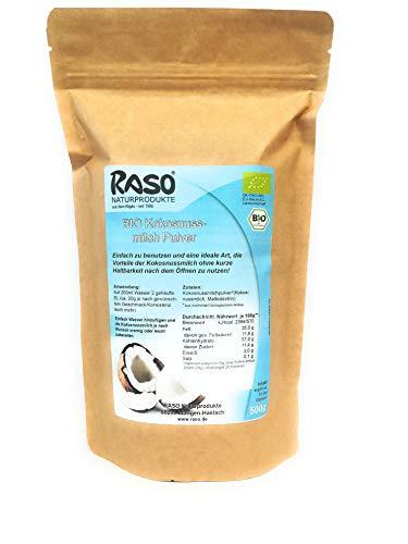 Kokosnussmilchpulver BIO | VERSANDKOSTENFREI | 500g Kokospulver | Kokosnussmilch Pulver | Kokosnussmilchpulver für Kokosmilch | glutenfrei + Ballaststoffen für Low Carb Diät