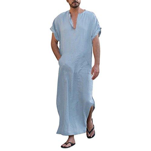 Preisvergleich Produktbild CICIYONER Herren Ethnisch Roben Lose Gestreift Kurz Ärmel Dünn Jahrgang Kleid Kaftan