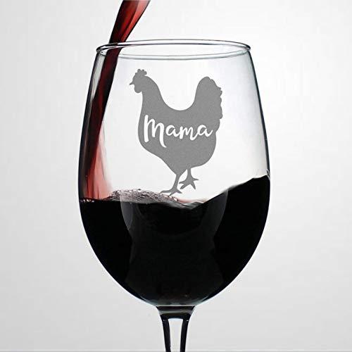 Copa de vino con tallo para mamá, diseño de gallina con texto...