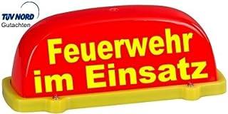 PACO Deutschland e.K. Dachschild City   leuchtrot   Feuerwehr im Einsatz   Textfarbe gelb   unbeleuchtet   Dachaufsetzer