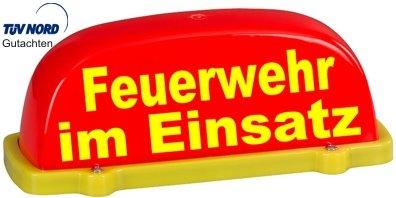 PACO Deutschland e.K. Dachschild City - leuchtrot - Feuerwehr im Einsatz - Textfarbe gelb - unbeleuchtet - Dachaufsetzer