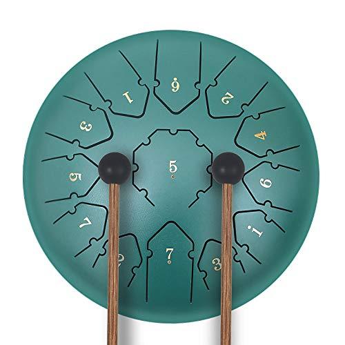 KUD Tongue Drum, 12 Zoll 13 Tone C-Dur Zungentrommel Schlagzeug Instrument, Steel Pan Töne Schlaginstrument Hand Pan Drum mit Trommelschlägeln Tragetasche Note Sticks für Meditation Yoga Klangheilung