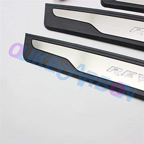 OLIKE for Toyota Hilux 2015-2020 Revo AN120 AN130 Fashion Style Led Door Sill Scuff Plate Guard Sills Protector Trim