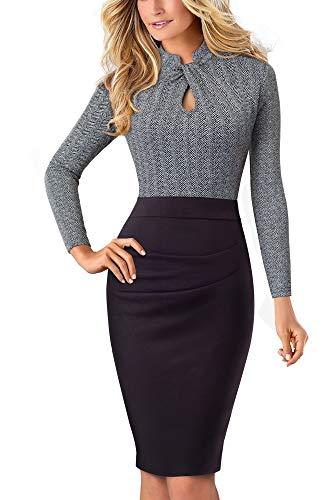 HOMEYEE Damen Vintage Stehkragen Kurzarm Bodycon Business Bleistift Kleid B430 (EU 38 = Size M, Grau + Lange Ärmel)