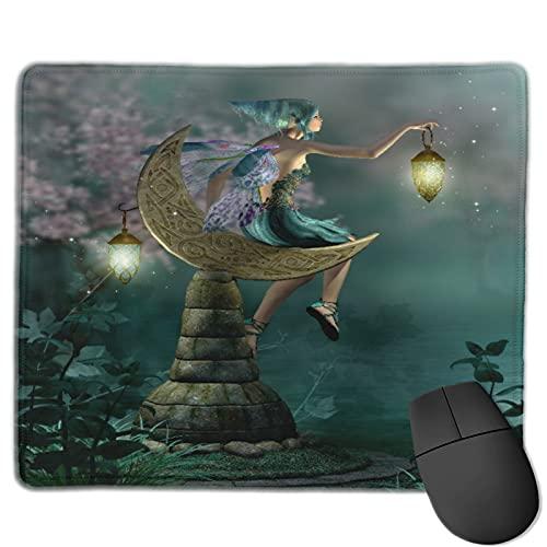 Benutzerdefinierte Office-Mauspad,Fantasie-kleiner Pixie mit Laterne,die Monds,Anti-Rutsch-Gummibasis Gaming Mouse Pad Mat Desk Decor 9.8