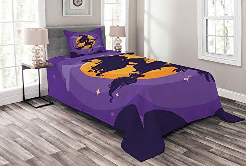 ABAKUHAUS Dunkelviolett Tagesdecke Set, Hexenbesen Silhouette, Set mit Kissenbezügen Moderne Designs, für Einselbetten 170 x 220 cm, Indigo Marigold Violet